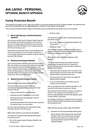 Family Protection Policy Wording