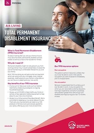 Total Permanent Disablement Insurance Brochure